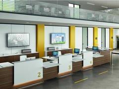 Banco reception per ufficio modulare in legnoFINANCE E ASSURANCE - BRALCO