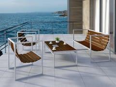 Arpe studio, RECTANGULAR Lounge set da giardino in acciaio e legno