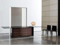 Tavolo rettangolare in legno e vetro REGOLO DOUBLE BASE - Regolo