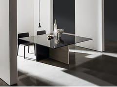 Tavolo quadrato in legno e vetro REGOLO   Tavolo quadrato - Regolo