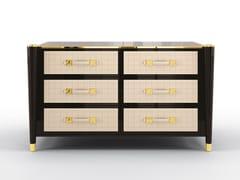 Cassettiera in legno massello e pelle con maniglie integrateREMINGTON | Cassettiera - BRUNO ZAMPA