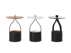 Tavolino alto rotondo in pelleRIBON - ROCHE BOBOIS