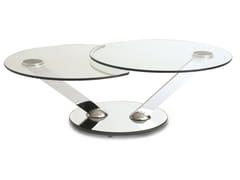 Tavolino rotondo in acciaio e vetroRICOCHET - ROCHE BOBOIS