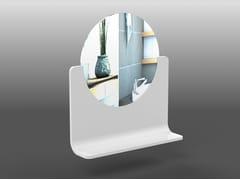 Specchio rotondo in Corian® a parete con mensolaRING   Specchio rotondo - AMA DESIGN