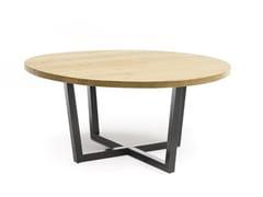 Tavolo da pranzo rotondo in acciaio e legnoROAD | Tavolo rotondo - ALTA CORTE