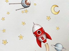 Adesivo da parete per bambini ROCKET AND CONSTELLATION - ACTE DECO