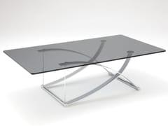 Tavolino rettangolare in acciaio e vetro ROLF BENZ 1150 | Tavolino rettangolare -