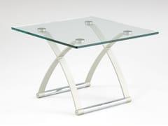 Tavolino quadrato in acciaio e vetro ROLF BENZ 1150   Tavolino quadrato -