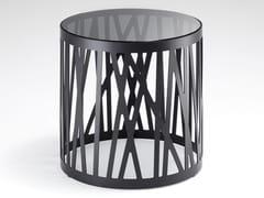 Tavolino rotondo in acciaio e vetro ROLF BENZ 8330 | Tavolino alto -