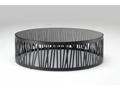 Tavolino rotondo in acciaio e vetro ROLF BENZ 8330 | Tavolino basso -