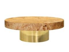 Tavolino basso rotondo con base in metallo e piano in legnoROOF - ANA ROQUE INTERIORS