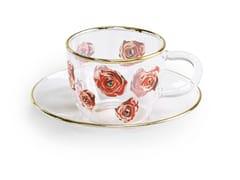 Tazza da caffè in vetro borosilicato con piattinoROSES | Tazza - SELETTI