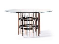 Tavolo da pranzo rotondo in legno e vetroTUBE | Tavolo rotondo - PACINI & CAPPELLINI