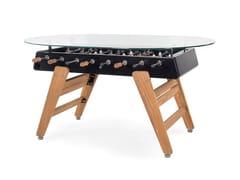 Tavolo da pranzo ovale in acciaio e iroko con top in vetroRS3 WOOD | Tavolo ovale - RS BARCELONA