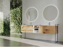 Mobile lavabo da terra doppio in rovere con porta asciugamaniRUSTECH RT04 - ARTEBA