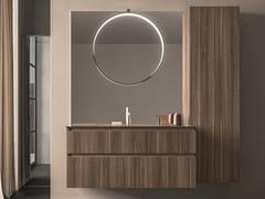 Mobile lavabo sospeso in legno con armadio SEGNO | Mobile lavabo in legno - Segno