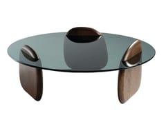 Tavolino rotondo in legno e vetroSHARK - ROCHE BOBOIS