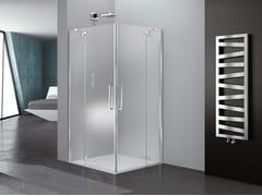 Box doccia angolare in vetro con porta a battentePRISMA 1.0 | Box doccia quadrato - MEGIUS