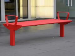 Panchina in acciaio inox con braccioli senza schienaleSIARDO 50 R | Panchina con braccioli - BENKERT BÄNKE