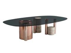 Tavolino basso ovale in acciaio e vetroSILO | Tavolino - ROCHE BOBOIS