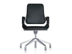 Sedia ufficio operativa ergonomica in pelle con ruote SILVER 262S - Silver