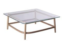 Tavolino quadrato in legno e vetro SINGLE CURVE LOW TABLE | Tavolino in legno e vetro - Single Curve