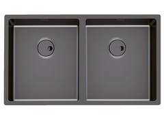 Lavello a 2 vasche da incasso in acciaio inoxSKIN 2V R12 FT GUNMETAL - FOSTER