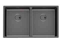Lavello a 2 vasche filo top in acciaio inoxSKIN 2V R12 S/T GUNMETAL - FOSTER