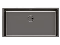 Lavello a una vasca sottotop in acciaio inoxSKIN 80X40 R12 S/T GUNMETAL - FOSTER