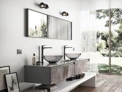 Mobile lavabo componibile in vetro stampato effetto marmo+SKIN | Mobile lavabo doppio - ARTELINEA