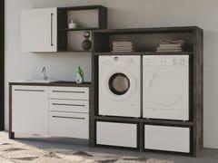 Mobile lavanderia componibile in nobilitato con lavatoio per lavatriceSMARTOP - COMPOSIZIONE 13 - COLAVENE