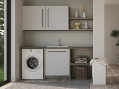 Mobile lavanderia componibile in nobilitato con lavatoio per lavatriceSMARTOP - COMPOSIZIONE 14 - COLAVENE