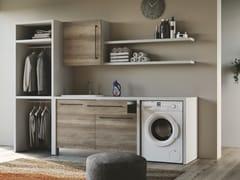 Mobile lavanderia componibile in nobilitato con lavatoio per lavatriceSMARTOP - COMPOSIZIONE 15 - COLAVENE