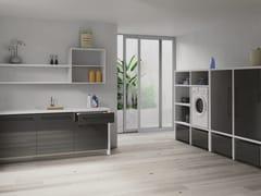 Mobile lavanderia componibile in nobilitato con lavatoio per lavatriceSMARTOP - COMPOSIZIONE 16 - COLAVENE