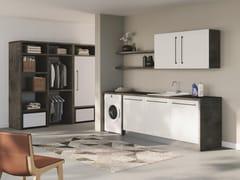 Mobile lavanderia componibile in nobilitato con lavatoio per lavatriceSMARTOP - COMPOSIZIONE 5 - COLAVENE