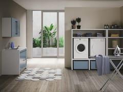 Mobile lavanderia componibile in nobilitato con lavatoio per lavatriceSMARTOP - COMPOSIZIONE 6 - COLAVENE