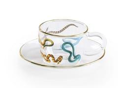 Tazza da caffè in vetro borosilicato con piattinoSNAKES | Tazza - SELETTI