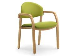 Sedia impilabile in legno lamellare e tessuto con braccioliSOLEIL | Sedia con braccioli - LEYFORM