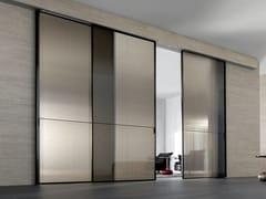 Porta scorrevole in vetro tessuto SPARK | Porta in vetro decorato - Aluminium Chic