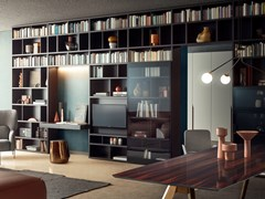Libreria componibile in legno con scrittoioSPAZIOTECA | Libreria con scrittoio - PIANCA