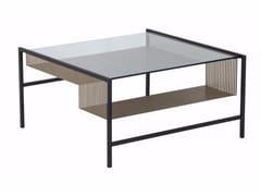 Tavolino quadrato in acciaio e vetro AGRAFE | Tavolino quadrato - Agrafe