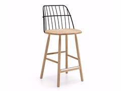 Sgabello alto in acciaio e legno con schienaleSTRIKE   Sgabello - MIDJ