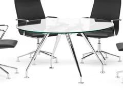 Tavolo da riunione rotondo in vetro.SUN | Tavolo da riunione in vetro - SPIEGELS