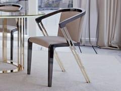 Sedia imbottita in pelle con braccioliSYMPHONY - INFINITY | Sedia con braccioli - BIZZOTTO