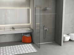 Shower drains flush with the floor