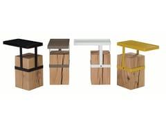 Tavolino rettangolare in acciaio e legnoTANDEM - ROCHE BOBOIS