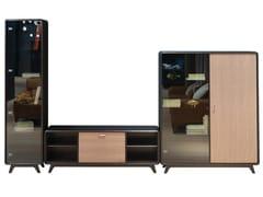 Mobile TV in legno e vetro con libreriaTANGGA C - ROCHE BOBOIS