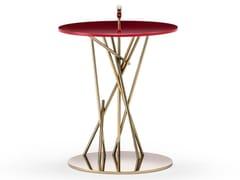 Tavolino alto in acciaio inox e vetroTAO - BLACK TIE