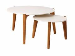 Tavolino basso da giardino rotondo in marmo TEA TIME -