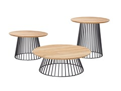 Tavolino da giardino rotondo in teak GRID | Tavolino in teak - Grid